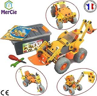 Bloques de construcción 6 en 1 | 205 piezas para construir un auto motocicleta máquina de construcción cohete | Juguete de ingeniería para niños 5 6 7 8 9 10+ años | Gran regalo para niños y niñas