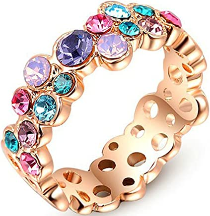Epinki Wedding Ring for Women Girls Gold Plated Women Wedding Bands Colorful Colorful Diamond Hollow Cubic Zirconia Ring