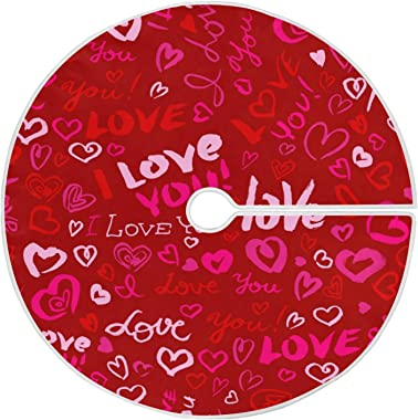 Qilmy Valentine's Day Love Heart Christmas Tree Skirt Double Layers Fine Tree Skirt for Christmas Handicraft for Holiday Part