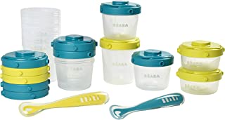 BÉABA - Set of 12 Baby Food Storage Container + 2 Silicone Spoons - Stackable and clippable pots - 100% Airtight with Meas...