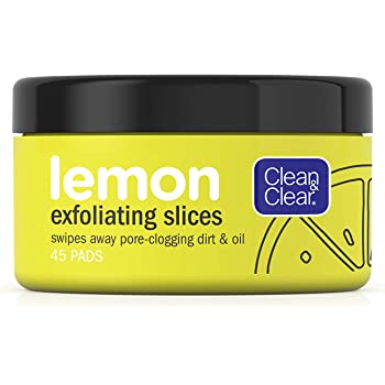 CLEAN & CLEAR Lemon Exfoliating Slices with Lemon Extract & Vitamin C, Oil-Free Facial Cleansing Pads 45 ea ( Pack of 2)