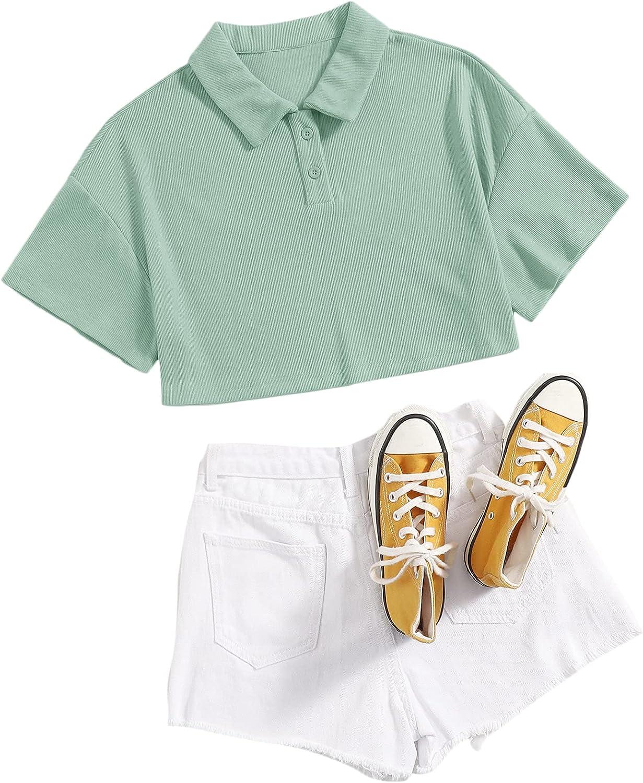 SweatyRocks Women's Short Sleeve Drop Shoulder Crop Polo Shirt Top