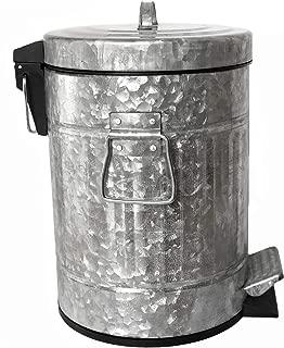 Autumn Alley Galvanized Pedal Waste Bin | Small 5L, 1.3 Gallon Trash Can | Adds Farmhouse Warmth | Perfect Size for Toilet Alcove