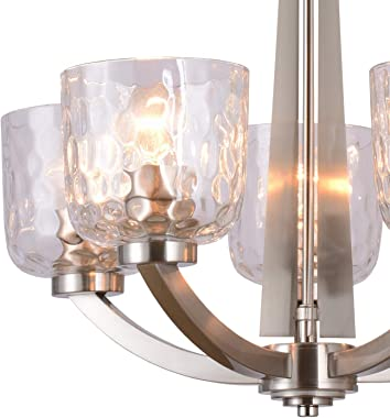 """Alice House 22"""" 5-Light E26 Large Chandelier Brushed Nickel Modern Style Hammered Glass Traditional Hanging Pendant Light"""