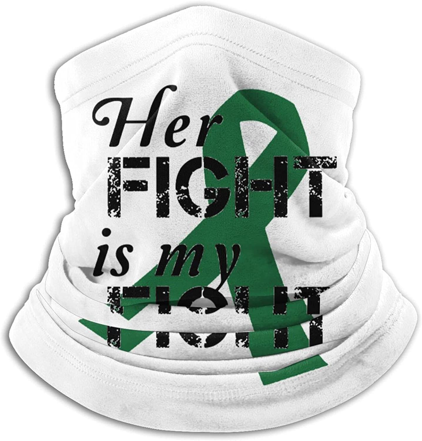 Liver cancer emerald green ribbon unisex winter neck gaiter face cover mask, windproof balaclava scarf for fishing, running & hiking