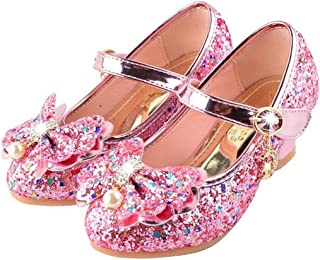 Girls Mary Jane Wedding Party Shoes Glitter Bridesmaids Low Heels Princess Dress Shoes