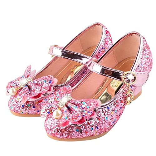 45593adc03f Bumud Girls Mary Jane Wedding Party Shoes Glitter Bridesmaids Low Heels  Princess Dress Shoes