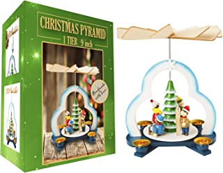 Christmas Decoration German Pyramid - 9 Inches - Wood Christmas Tree Play Set - Table Top Holiday Decor - Nativity Play Carousel with 4 Candle Holders - German Design ( NEW 2019 Bubble Packed )