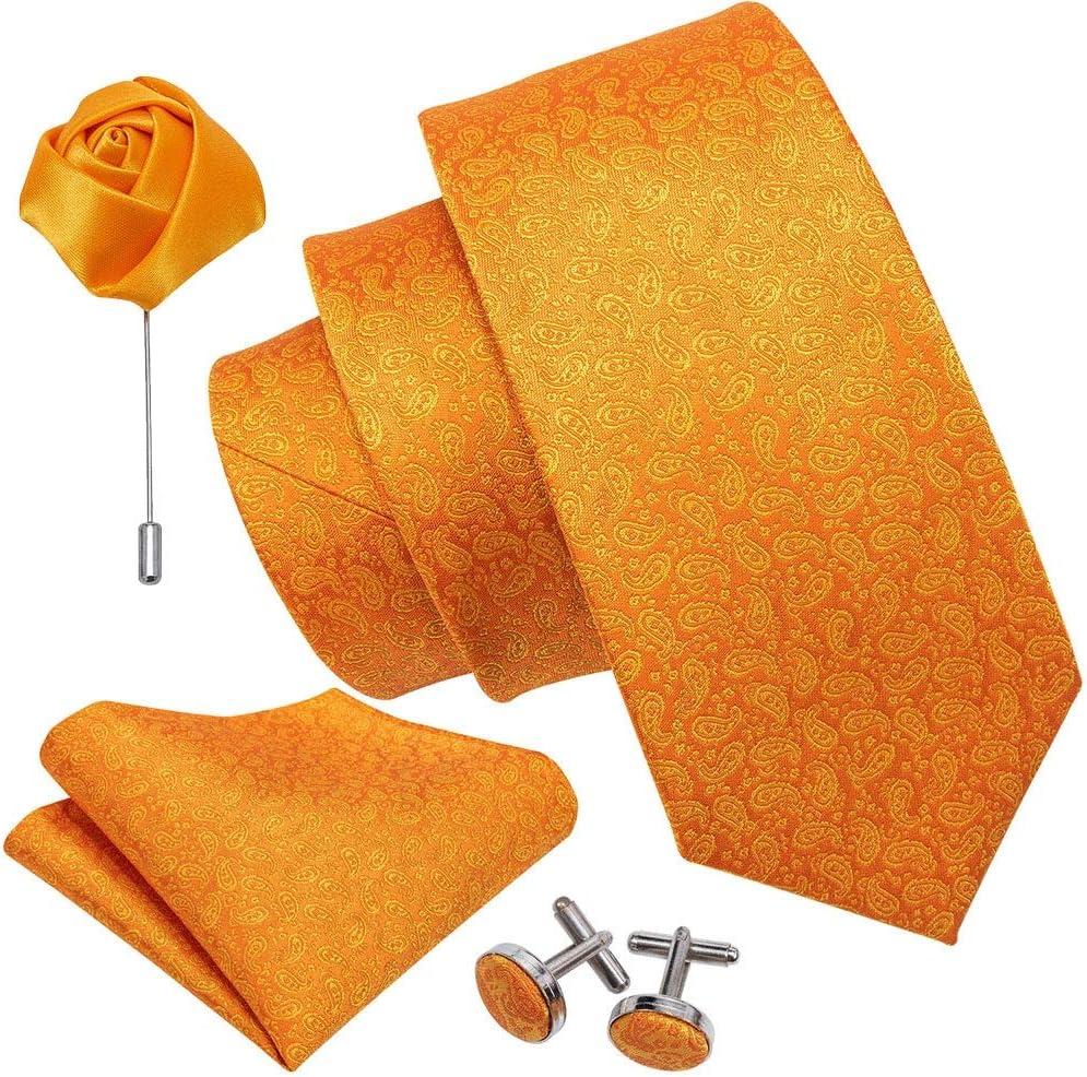 JIEIIFAFH Orange Men Tie Wedding Silk Necktie Brooch Handkerchief Cufflink Set Fashion Designer Tie Compatible with Men Groom Gift