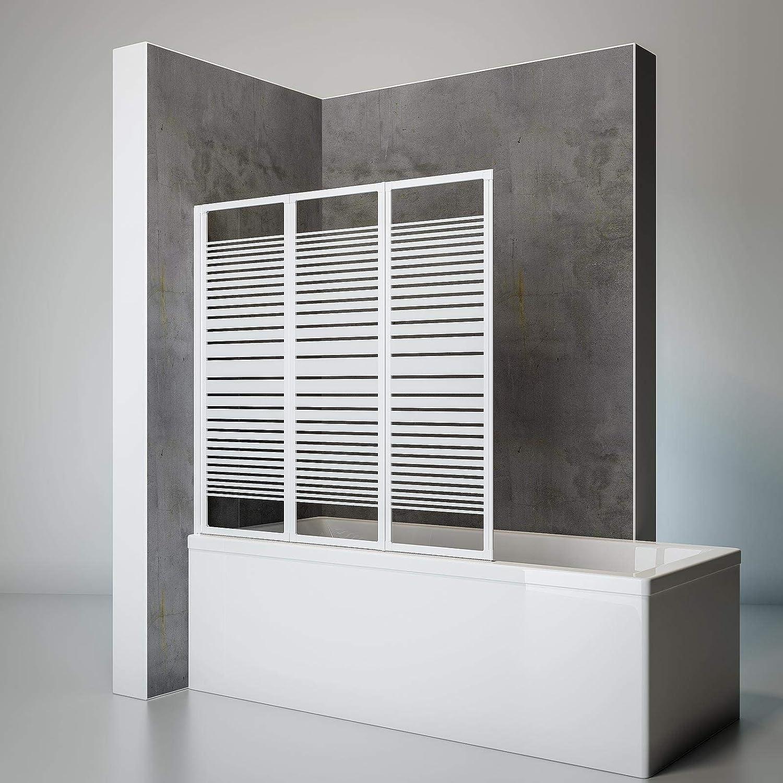 Schulte Duschwand Smart inkl. Klebe-Montage, 127 x 121 cm, 3-teilig faltbar, 3 mm Sicherheits-Glas Dekor Querstreifen, alpin-wei, Duschabtrennung für Wanne