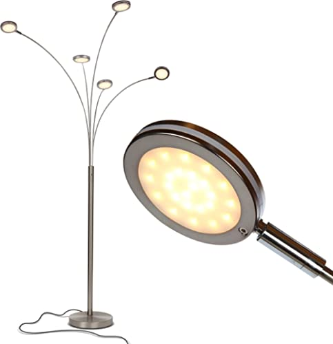 Brightech Orion 5 - Super Bright, Modern LED Arc Lamp - 5 Adjustable Arms & Light Heads Arch Over The Couch - Standin...