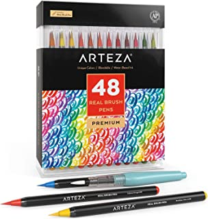 Arteza Real Brush Pens, 48 Colors for Watercolor Painting with Flexible Nylon Brush Tips,..