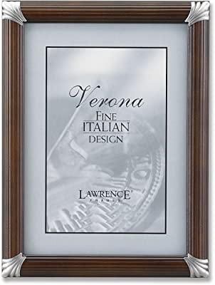 b8c7cbedcab6 Lawrence Frames 8 by 10-Inch Walnut Pinstripe Wood with Pewter Metal Corners