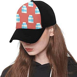 Front Panel Custom Milk Carton Drink Hand Drawn Printing Baseball Hat Adjustable Size Curved Cap for Hip-hop Sports Summer Beach Outdoor Activities Unisex
