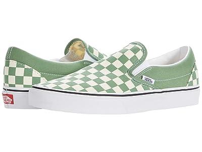 Vans Classic Slip-On ((Checkerboard) Shale/True White) Skate Shoes