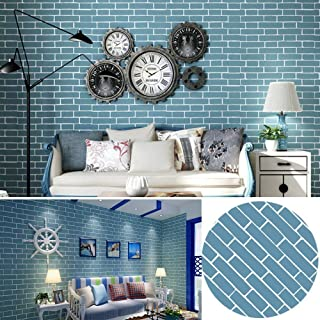 LIFAVOVY Blue Brick Pattern Peel and Stick Wallpaper Self Adhesive Shelf Drawer Liner Contact Paper Decorative Roll 17.7