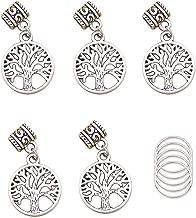 RechicGu Pack 5 Celtic Tree of Life Norse Viking Yggdrasil Dreadlock Bead Braid Hair Cuff Dress Clip Pin with 5 Hoops