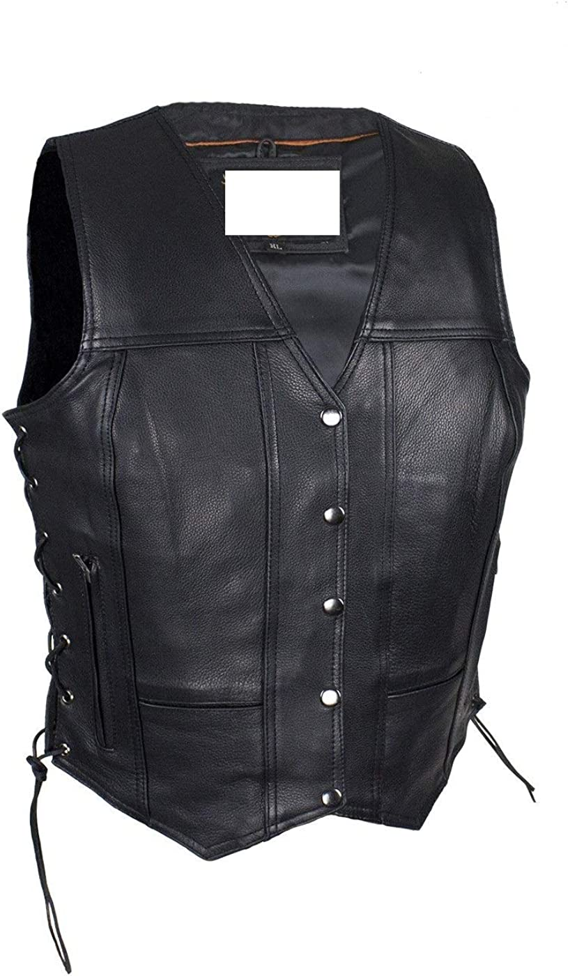 Ladies Womens Solid Soft Leather Biker Black Con sale Animer and price revision Vest Motorcycle
