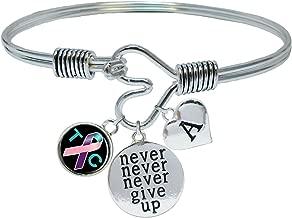 Custom Thyroid Cancer Awareness Never Give Up Bracelet Choose Initial