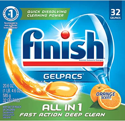 Finish All In 1 Gelpacs, Orange 32 Tabs, Dishwasher Detergent Tablets