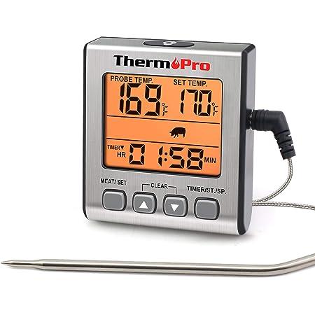 ThermoPro TP16S Termometro Cucina Digitale Termometri da Carne Accurato per Cottura Alimenti Forno BBQ Grigliare con modalità Timer di Cottura Intelligente e Retroilluminazione