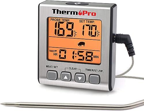 ThermoPro TP16S Termometro Cucina Digitale Termometri da Carne Accurato per Cottura Alimenti Forno BBQ Grigliare con ...
