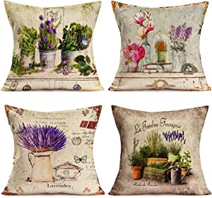 Hopyeer 4Pack Rustic Farmhouse Vintage European Floral Throw Pillow Covers Classical Floriculture Lavender Flowers Plant Cotton Linen Pillowcase Home Sofa Decor Cushion Cover 18