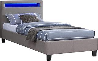 IDIMEX Lit Simple pour Adulte ou Enfant Molina Couchage 90 x 190 cm avec sommier 1 Place pour 1 Personne, tête de lit avec...