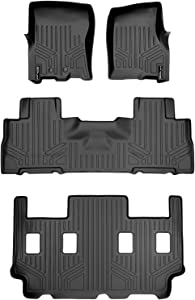 SMARTLINER Floor Mats 3 Row Liner Set Black for 2011-2017 Expedition EL/Navigator L with 2nd Row Bucket Seats Without Console