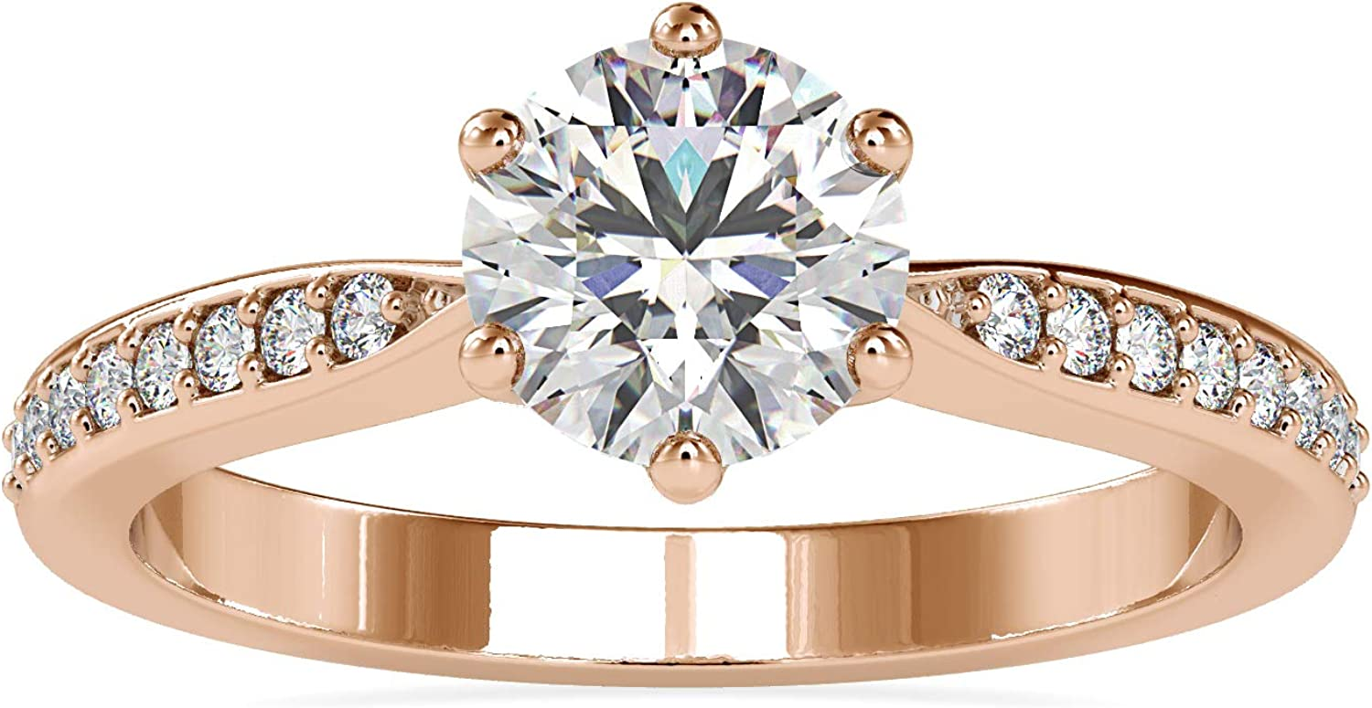 Certified Weekly update Solitaire Engagement Ring Studded 0.14 IJ-SI with Ct S Fresno Mall