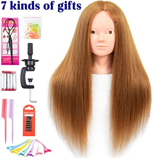 Mannequin Head with Human Hair 60% Straight Professional Bride Hairdressing Training Head with Stand Cosmetology Doll Head for Styling Braid Curl Cut Practice (26 inch without make-up, 27#)