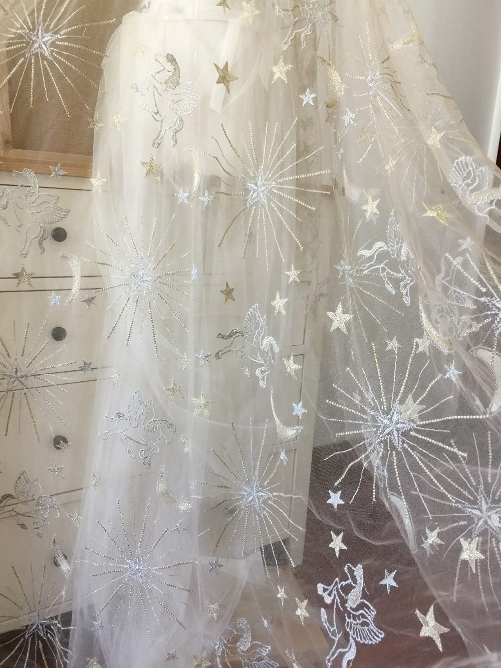 SELCRAFT 5 Yards Soft Tulle Baltimore Mall Lace Fabric Baltimore Mall Horse Embro Star Floral