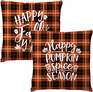 7COLORROOM Set of 2 Buffalo Check Orange Plaid Pillow Covers Autumn Harvest Happy Fall Y'All Cushion Cover Thanksgiving Farmhouse Happy Pumpkin Decorations Pillowcases 18 x 18