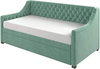 Little Seeds Ambrosia Diamond Tufted Upholstered Design Daybed and Trundle Set, Twin Size Frame, Teal