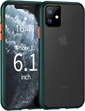 ZtotopCase for iPhone 11, Translucent Matte Hard PC Back Cover and Soft TPU Edges Shockproof Anti-Drop Protective Case for iPhone 11 6.1 Inch 2019, Dark Green