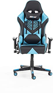 كرسي ألعاب من الجلد الصناعي من BLITZED Budget Adonis مع وسادة للرأس ووسادة قطنية مع مسند للقدم (أزرق)