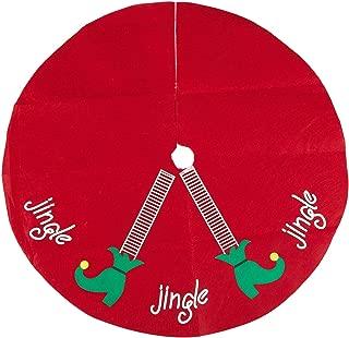 Juvale Christmas Tree Skirt, Elf Legs - Xmas Tree Decoration, Felt Christmas Tree Decor, Red - 30 x 0.1 x 30 Inches