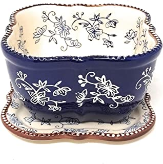 Temp-tations Sculpted 1.5 Qt Serving Bowl / Dish with Lid-It (Tray) (NO Plastic Cover) (Floral Lace Blue)