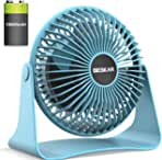 BESAKR Battery Operated Small Fan, USB Desk Fan with 10000mAh Rechargeable Battery,Strong wind Portable Quiet Fan,3 Speeds Personal Cooling Fan for Office Home Library