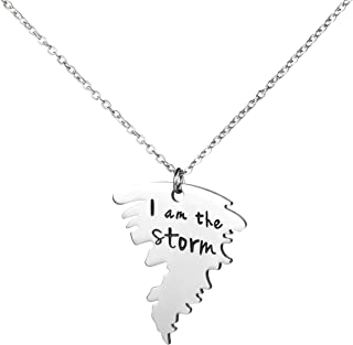 Awegift I Am The Storm Jewelry Inspirational Quote Statement Tornado Pendant Necklace Gift for Brave Cancer Fighter