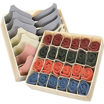 MOSRACY Organizador de cajones, Caja de Almacenamiento de Armario, Utilizado para almacenar Sujetadores/Ropa Interior/Calcetines, etc.Rejillas de 24 y 7 Aplicar a/cajón/Dormitorio (Beige): Amazon.es: Hogar