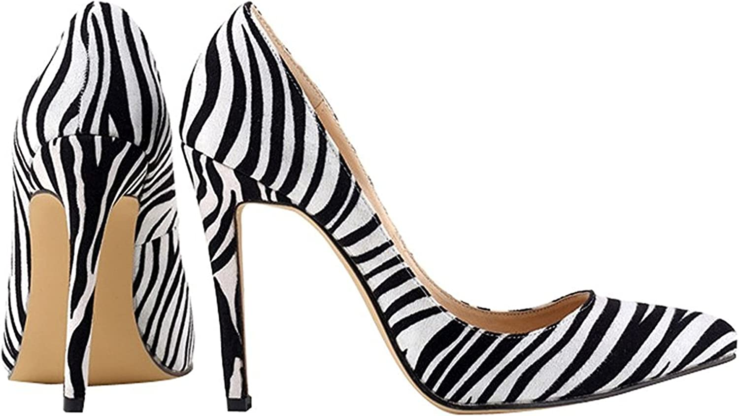WANabcMAN Comfortable Women's Pattern Pointy Stiletto High Heels shoes Zebra Stripe 42