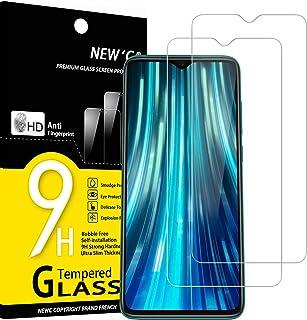 NEW'C 2-pack skärmskydd med Xiaomi Redmi Note 8 Pro, Xiaomi Redmi 9 – Härdat glas HD klar 9H hårdhet bubbelfritt