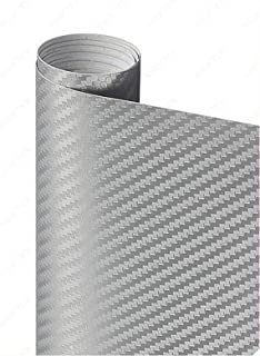 new 3D Carbon Fiber Vinyl Black Multiple Size Car Wrap Sheet Roll Film Sticker Automobile Styling Decals (Color Name : Sil...