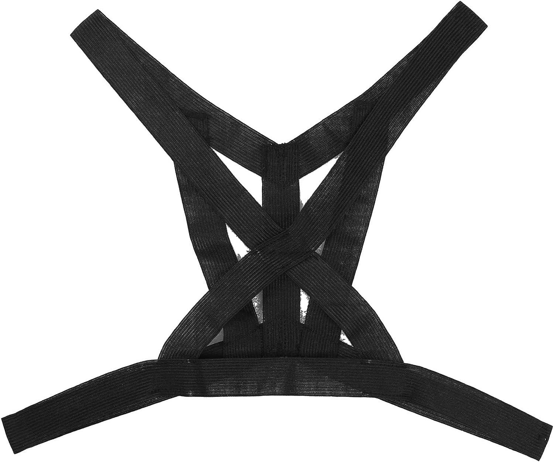 Doomiva Mens Black Suspenders Sissy Lingerie Elastic Shoulder Straps Body Chest Belt Clubwear