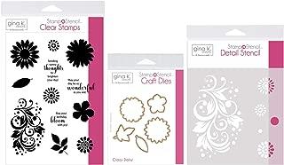 Gina K Designs Stamp n Stencil - Crazy Daisy - Clear Stamps, Steel Dies, Detail Stencil and Stamp Storage Pocket