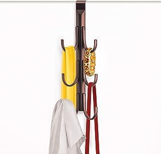 Lynk 144501 Over Door Accessory Hanger, Scarf, Belt, Hat, Jewelry Organizer, Vertical 6 Hook Rack, Bronze