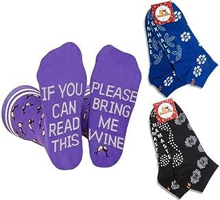 Wine and Yoga Socks Womens Gift Set - 3 Pairs Socks - Purple Wine and Non-Slip Yoga socks value set