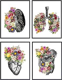 Original Flower Organs Wall Art Print Poster Set – Unique Steampunk Anatomy Home..