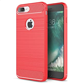 ARSUE iPhone 7 Plus/8 Plus Case, Slim Thin Scratch Resistant Carbon Fiber TPU Rubber Soft Skin Silicone Protective Case Anti-fingerprint Design Phone Cover for Apple iPhone 7 Plus/8 Plus,Red